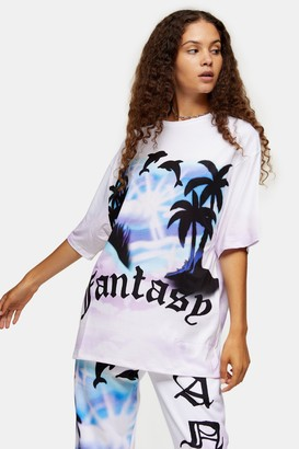 Jaded London Womens **Fantasy Print Ovesized T-Shirt By White