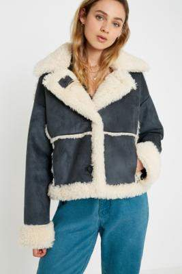 Urban Outfitters Faux Shearling Crop Jacket - grey XS at