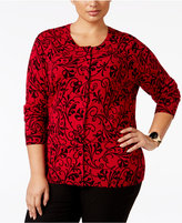 Karen Scott Plus Size Scroll-Pattern Cardigan, Only at Macy's