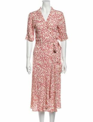 Ganni Floral Print Midi Length Dress Red