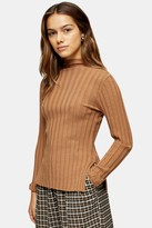 Topshop Womens Petite Camel Knitted Marl Funnel Neck Top - Camel