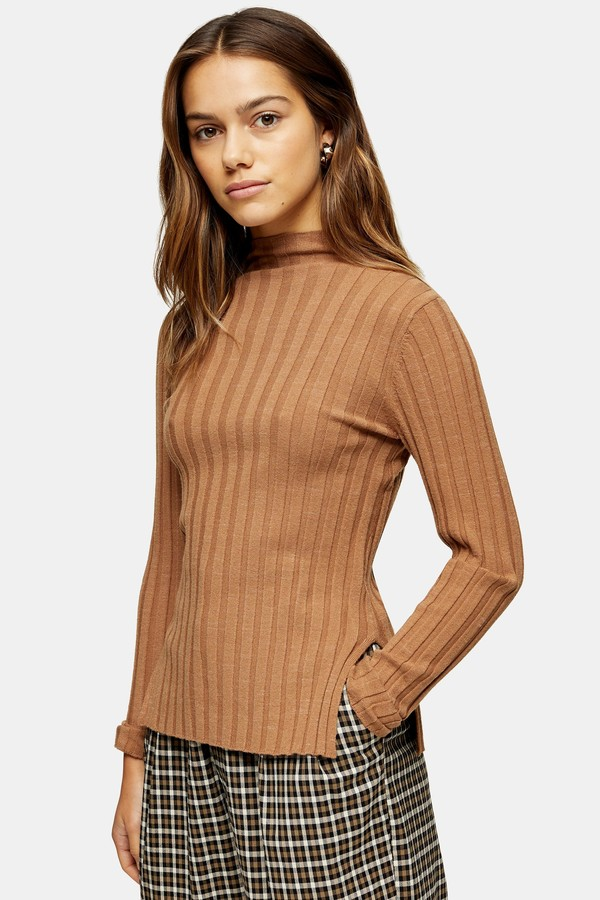 Topshop PETITE Camel Knitted Marl Funnel Neck Top