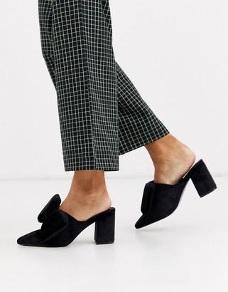 Asos Design DESIGN Sweetness block heel bow mules in black velvet
