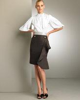 Valentino Voulant-Ruffle Silk Skirt
