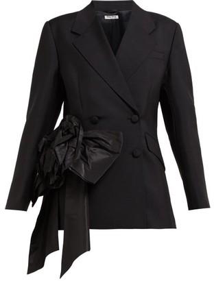 Miu Miu Floral Organza Mohair And Wool-blend Blazer - Black