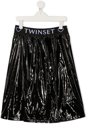 Twin-Set TEEN logo waist skirt