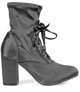 Nature Breeze Lace up Almond Toe Chunk Heel Women's Anke Boots in Grey