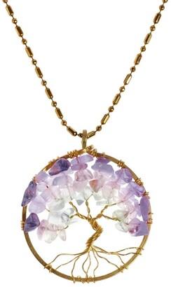 Aeravida Handmade Charisma 30mm Tree of Life Stone and Brass Pendant Necklace