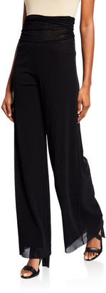 Fuzzi Ruched Tulle Palazzo Pants