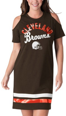 E.m. Women's G-III 4Her by Carl Banks Brown Cleveland Browns Go Get Tri-Blend Cold Shoulder Mini-Dress