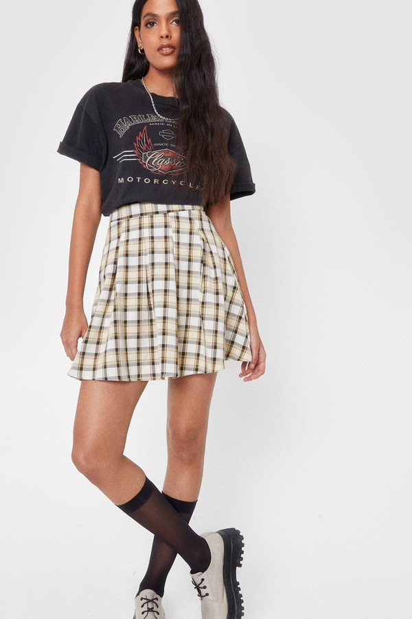 Thumbnail for your product : Nasty Gal Womens High Waisted Pleated Check Mini Skirt - White - 6