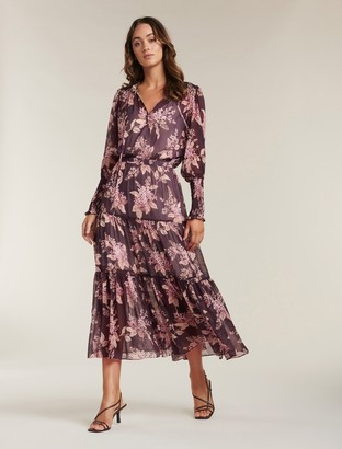 Forever New Violet Tiered Midi Dress - Plum Floating Blossom - 10