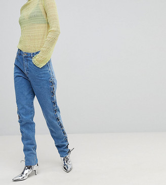 Chorus Tall Lace Up Side Mom Jeans-Blue