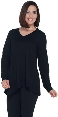 LOGO Lounge by Lori Goldstein French Terry Top with Seaming Details