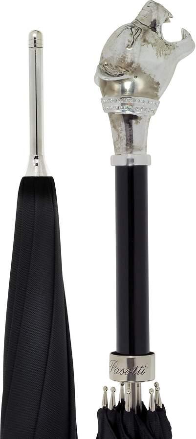 Pasotti Black Women's Umbrella w/Silvertone Panther Handle