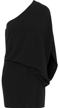 Halston One-shoulder Draped Crepe Mini Dress