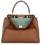 Fendi 'Peekaboo' Leather Satchel With Genuine Snakeskin Trim - Brown