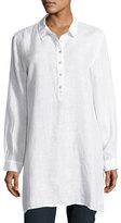 Eileen Fisher Long-Sleeve Collared Henley Linen Tunic