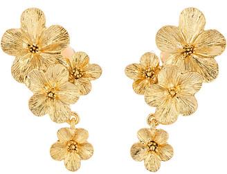 Oscar de la Renta Metal Double Flower Clip-On Drop Earrings