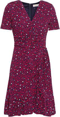 MICHAEL Michael Kors Ruched Ruffle-trimmed Printed Jersey Mini Dress