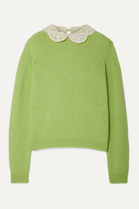 Marc Jacobs Crochet-trimmed Wool Sweater - Bright green