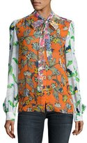 Tory Burch Kia Tie-Neck Graphic-Print Silk Blouse, Orange Multi