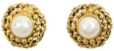 Chanel Gold Tone Metal with Pearl Earrings