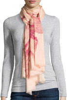 Neiman Marcus Marble Wings Wool Scarf, Berry Multi