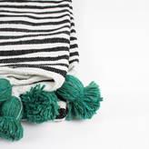 Bohemia Handwoven Cotton Stripe Pom Pom Blanket, Green Poms