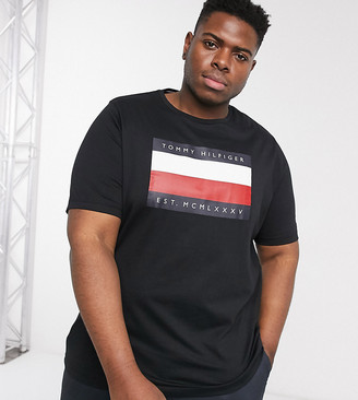 Tommy Hilfiger Big & Tall corp stripe box print t-shirt in black