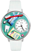 Whimsical Watches Personalized Dental Assistant Womens Silver-Tone Bezel White Leather Strap Watch