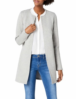 VILA CLOTHES Women's VINAJA NEW LONG JACKET - NOOS Blazer Grey (Light Grey Melange) 38 (Manufacturer size: Medium)