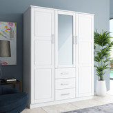 Cosmo 3-Door Wardrobe/Armoire, Mirror, 3-Drawer by Palace Imports, Whi