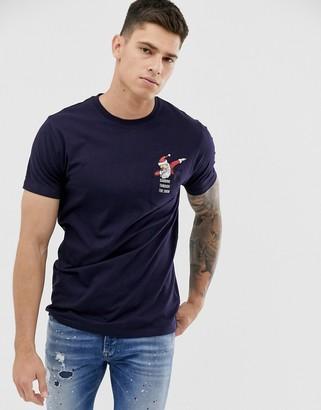 Brave Soul dabbing santa pocket detail t-shirt-Navy