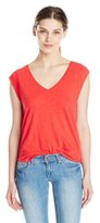 C&C California Women's V Neck Slub Jersey Muscle Tee