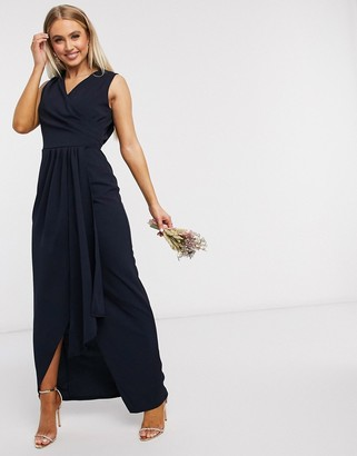 TFNC Bridesmaid pleated wrap front maxi