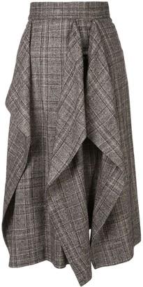 AKIRA NAKA check print draped skirt