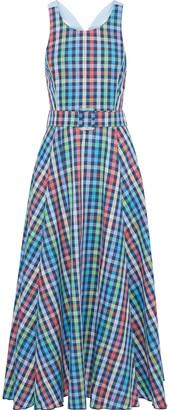 Gül Hürgel Belted Checked Cotton And Linen-blend Maxi Dress