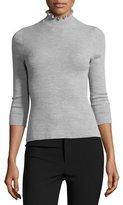 Rebecca Taylor Merino Wool Mock-Neck Sweater, Light Gray Heather