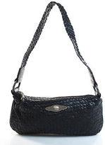 Elliott Lucca Black Zipper Top Woven Leather Shoulder Handbag