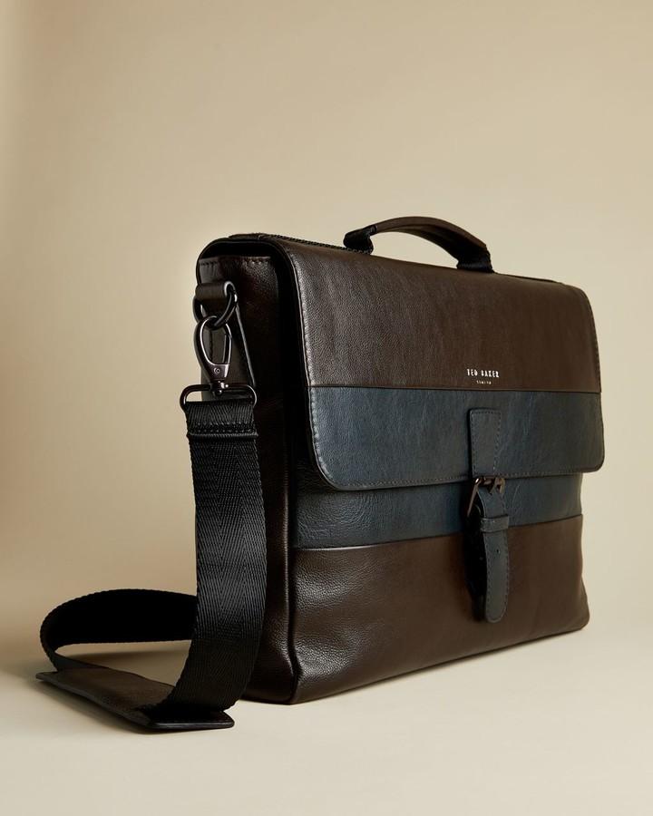 Ted Baker Striped Leather Messenger Bag
