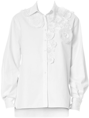 Carolina Herrera Floral Applique Evening Shirt