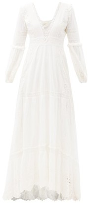 LoveShackFancy Donnie V-neck Broderie-anglaise Dress - Ivory