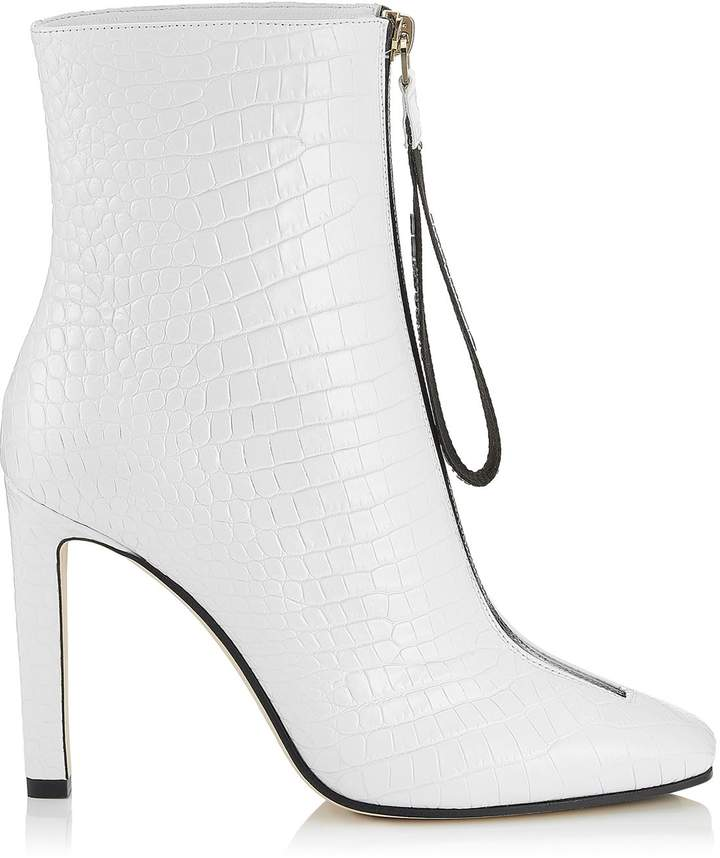Jimmy Choo Macel 100 Croc-Embossed Leather Boots
