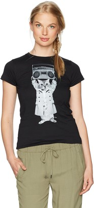 Chin Up Chin-Up Women's Kitty Trenchcoat Boombox Crew Neck Graphic T-Shirt
