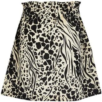 River Island Girls Animal Print Belted Utility Skirt -Black