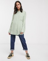 Weekday Free oversized button through shirt in dusty green