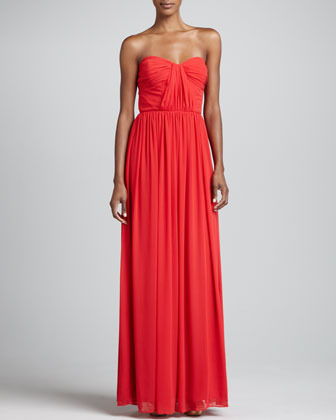 Erin Fetherston Strapless Shirred Gown, Flame
