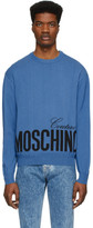 Moschino Blue Knit Logo Sweatshirt