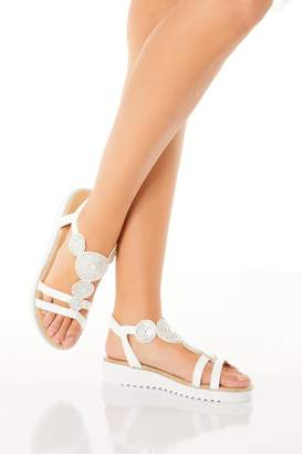 Quiz Comfort White Faux Leather Embellished Sandals